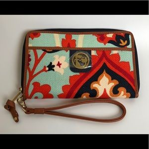 spartina 449 mermaid wallet wristlet linen leather